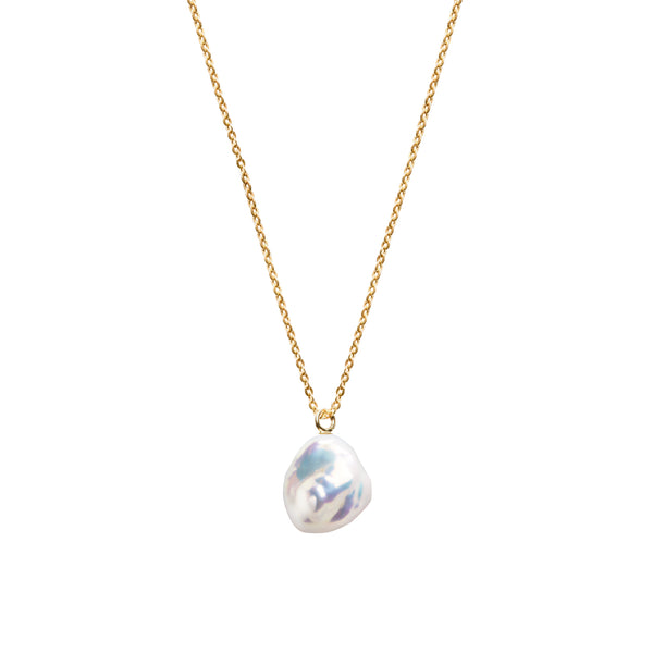 Mermaid Keshi Pearl Fine Chain Necklace 9ct Yellow Gold