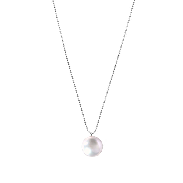Orbis White Pearl Necklace Sterling Silver