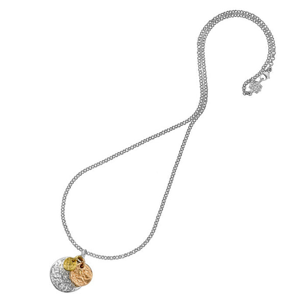 Sterling Silver & Gold Vermeil Hammered Triple Disc Nomad Pendant