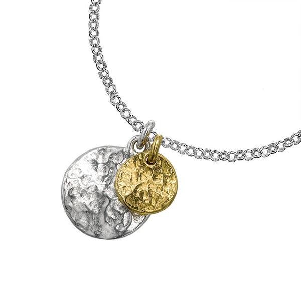 Sterling Silver & Gold Vermeil Double Disc Nomad Pendant