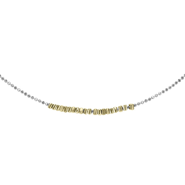 Sterling Silver & 18ct Gold Vermeil Kubes Row Necklace