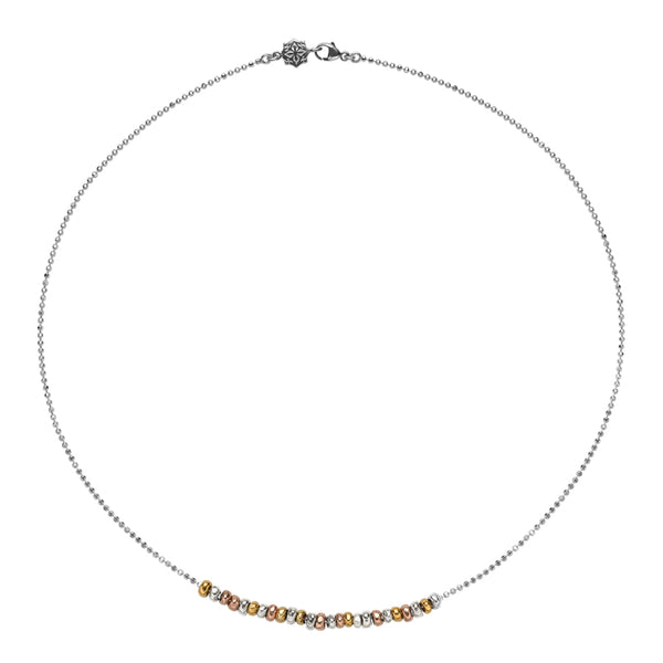 Sterling Silver, Mixed Yellow & Rose Gold Vermeil Nugget Row Necklace