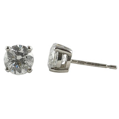 18ct White Gold Diamond Stud Earrings, 1.65ts