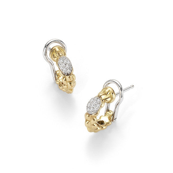 18ct Yellow Gold & Diamond Tiny Eka Hoop Earrings, 0.19ct