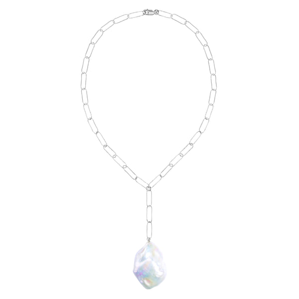 Aurelia Lariat Baroque Pearl Chain Necklace Sterling Silver