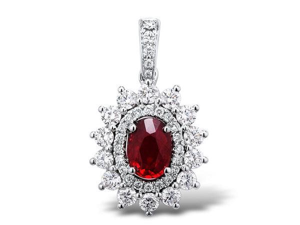18ct White Gold Diamond & Ruby Pendant, 0.78ct