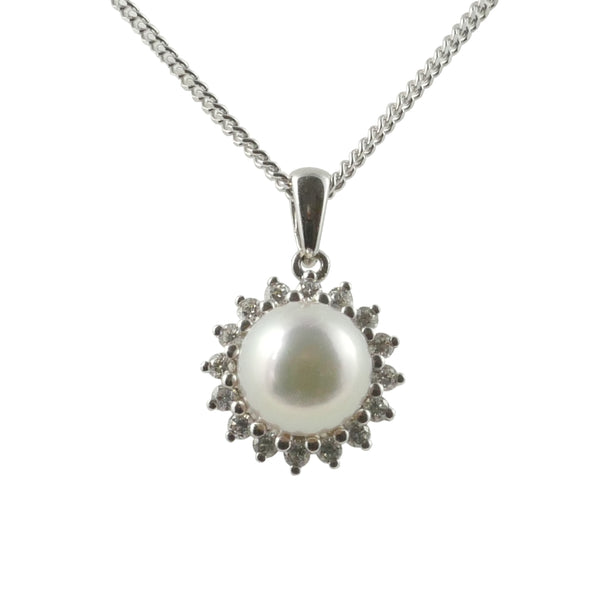 18ct White Gold Akoya Pearl & Diamond Cluster Pendant, 0.18ct
