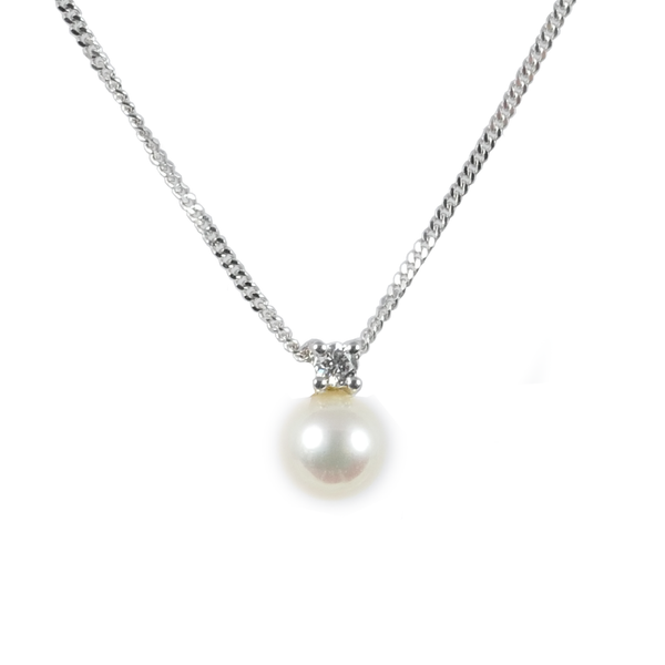 18ct White Gold Akoya Pearl & Diamond Pendant, 0.06ct
