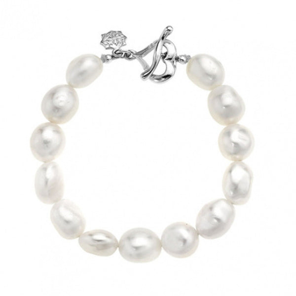 Sterling Silver White Baroque Pearl Bracelet