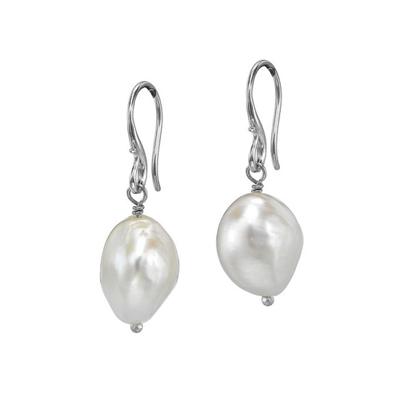 Dower and Hall Sterling Silver White Baroque Pearl Earrings