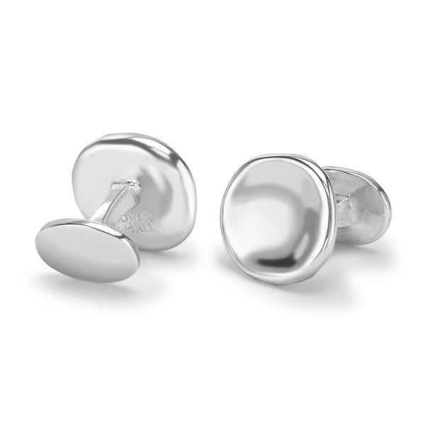 Sterling Silver Round Pebble Cufflinks