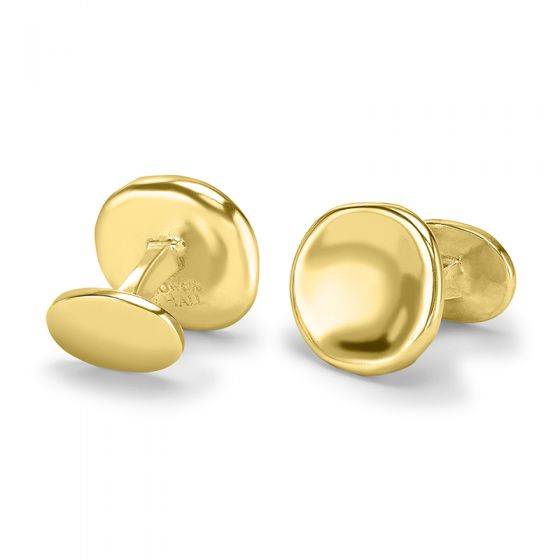 18ct Gold Vermeil Round Pebble Cufflinks