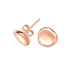 18ct Rose Gold Vermeil Dimple Pebble Stud Earrings