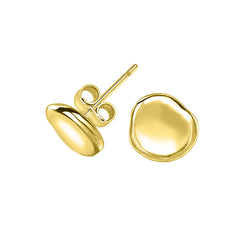 18ct Gold Vermeil Dimple Pebble Stud Earrings