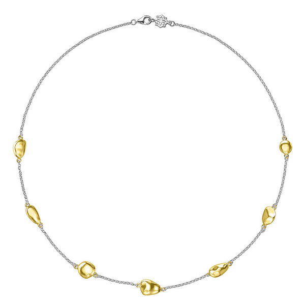 Sterling Silver & 18ct Gold Vermeil 7 Mixed Pebble Chain Necklace