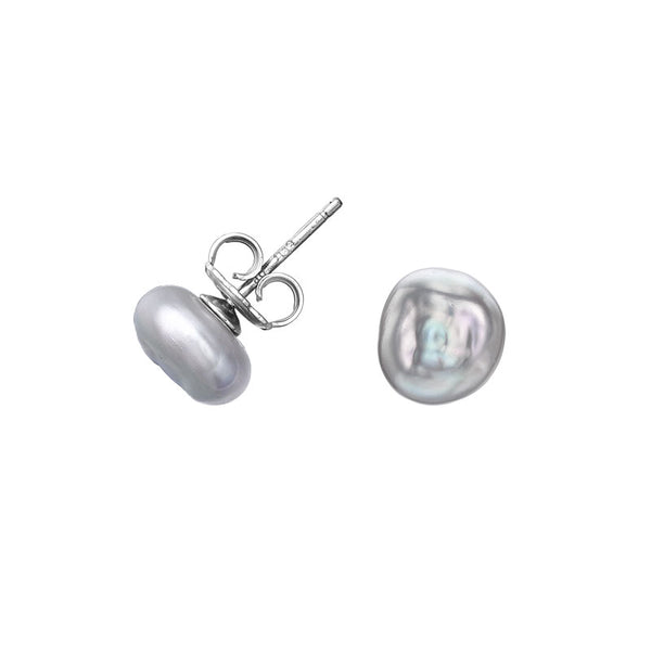 Sterling Silver Dove Grey Keshi Pearl Stud Earrings