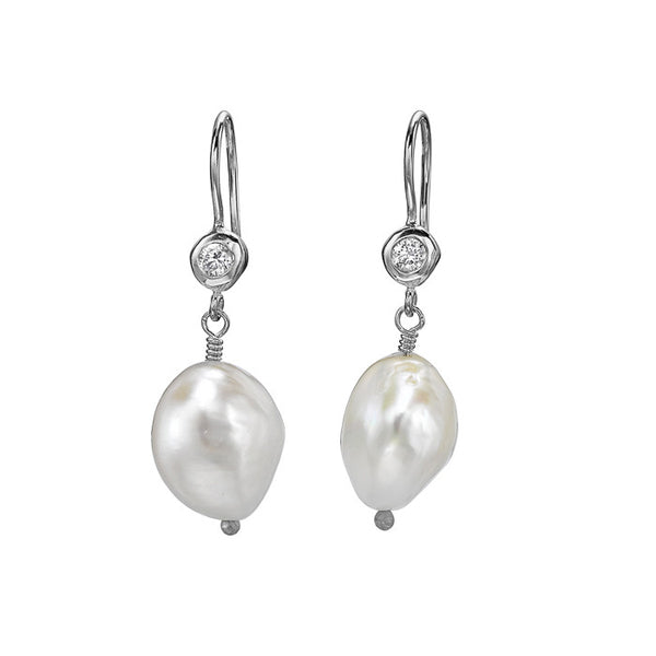 Sterling Silver White Baroque Pearl & White Topaz Earrings