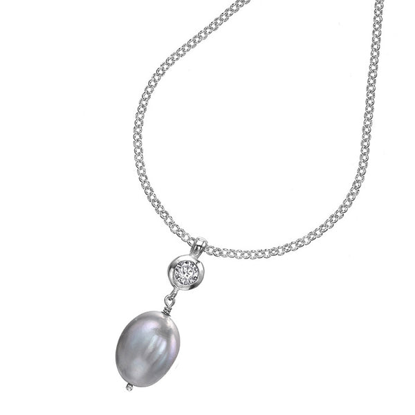 Sterling Silver Dove Grey Baroque Pearl & White Topaz Pendant