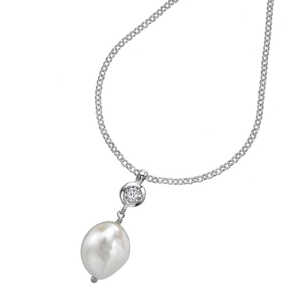 Sterling White Baroque Pearl & White Topaz Pendant