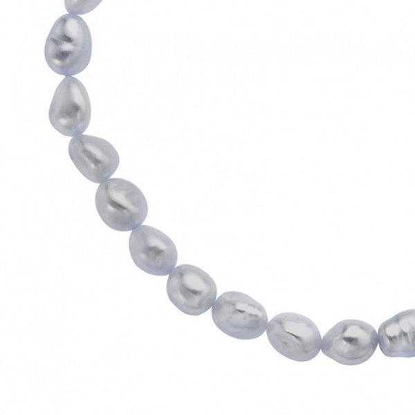 Sterling Silver Dove Grey Baroque Pearl Necklace