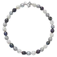 Sterling Silver Mixed Baroque Pearl Necklace