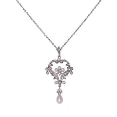 18ct White Gold Diamond Set Fancy Pearl Pendant, 0.39ct