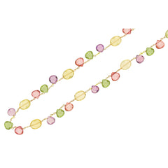 9ct Yellow Gold Multi-coloured Gemstone Necklace