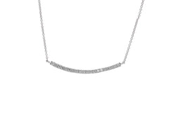 9ct White Gold Diamond Bar Geo Pendant, 0.18ct