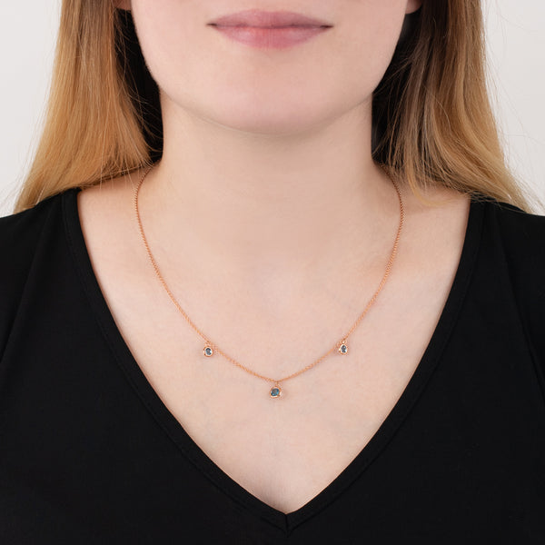 9ct Rose Gold Blue Topaz Dew Drop Necklace