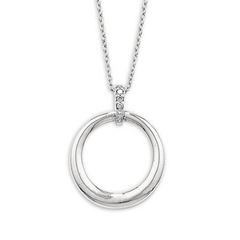 9ct White Gold Diamond Circle Pendant, 0.04ct