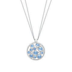 9ct White Gold Diamond and Blue Topaz Bubble Cluster Pendant, 0.10ct