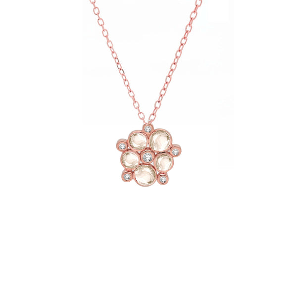 9ct Rose Gold Diamond & Moonstone Bubble Cluster Pendant, 0.09ct