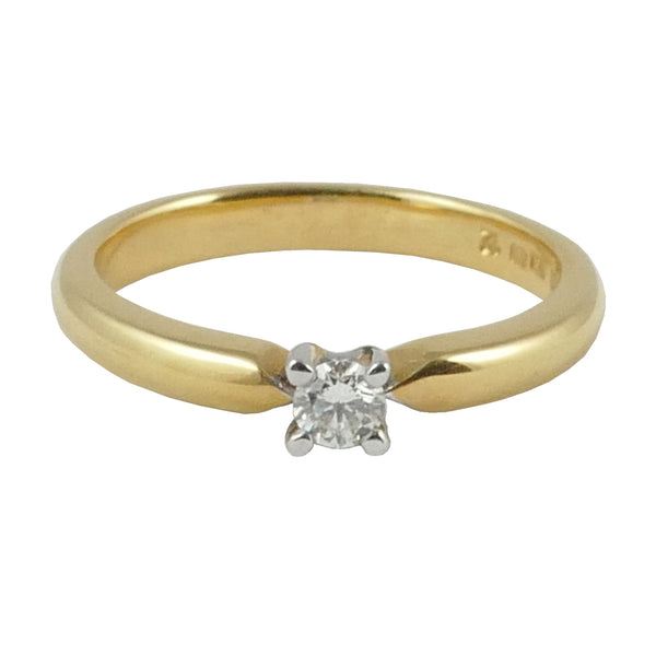 18ct Yellow Gold Diamond Solitaire Engagement Ring, 0.12ct