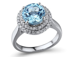 18ct White Gold Blue Topaz & Diamond Ring, 0.36ct