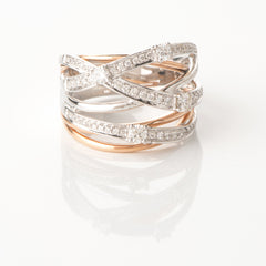 18ct Rose & White Gold Diamond Scatter Ring, 0.62ct