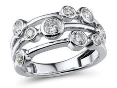 18ct White Gold Diamond Scatter Ring, 1.08cts