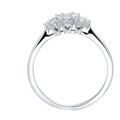 18ct White Gold Diamond Triple Cluster Ring, 0.32ct