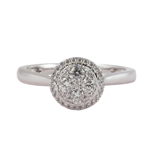 18ct White Gold Diamond Cluster Ring, 0.26ct