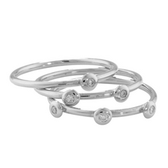 9ct White Gold 3 Diamond Raindrop Stacking Rings, 0.09ct