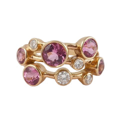 18ct Rose Gold Pink Tourmaline & Diamond Scatter Ring