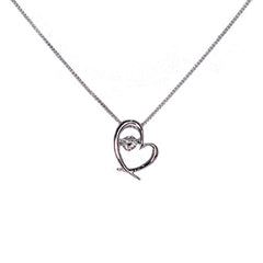 18ct White Gold Diamond Heart Pendant, 0.25ct