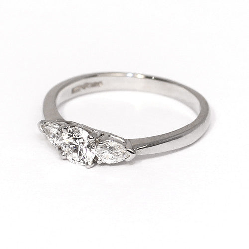 Platinum Set Three Stone Diamond Ring, 0.67ct