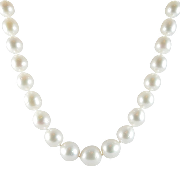 White South Sea Baroque Pearl Necklace, 0.08ct