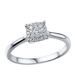 18ct White Gold Diamond Cluster Ring, 0.13ct
