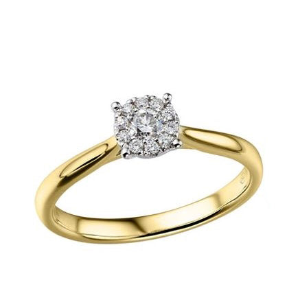 18ct Yellow Gold Diamond Cluster Ring, 0.19ct