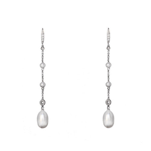 18ct White Gold Graduating Pearl Drop Earrings