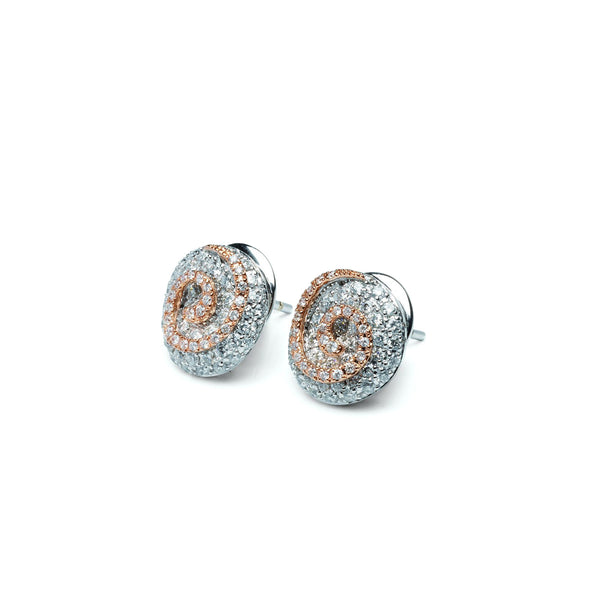18ct White Gold and Rose Gold Stud Earrings, 1.23ct