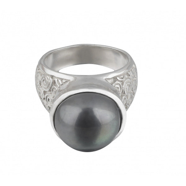 Sterling Silver Peacock Pearl Statement Spiral Ring