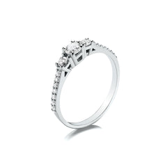 Platinum Three Stone Engagement Ring, 0.44ct