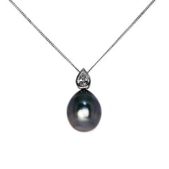 18ct White Gold Pear Shape Diamond & Tahitian Pearl Drop Pendant, 0.38ct (Certified)